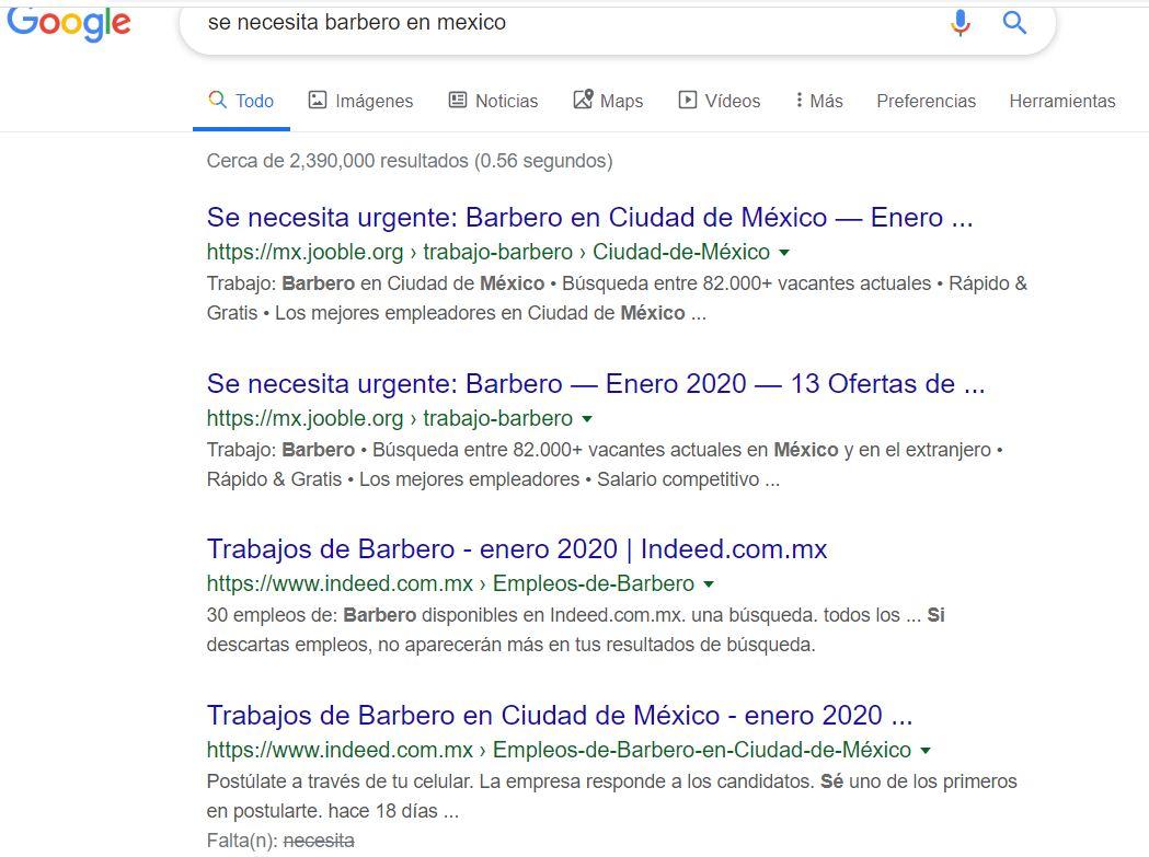 Resultados de Google para trabajo de barbero en México